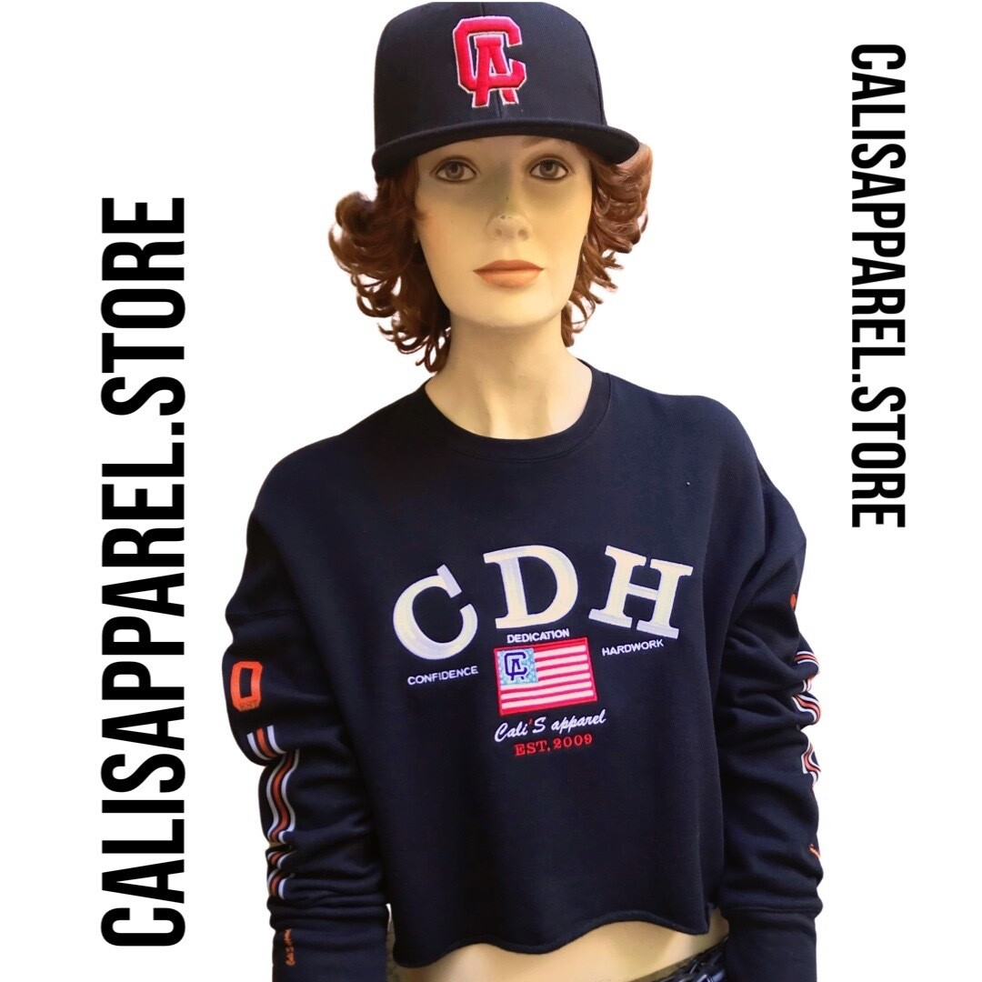 Cali's apparel NYC CDH Black Pull Over Cropped Top Hoodie