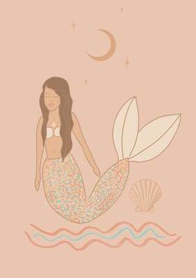 Dusty Pink Mermaid Art Print