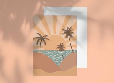 Oasis Sunrise Greeting Card