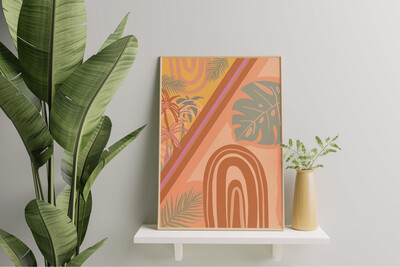 Palms n' Rainbows Art Print