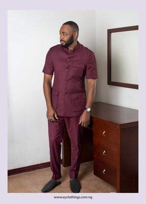 Bottom Down Short Sleeve Suit (Wine Color)