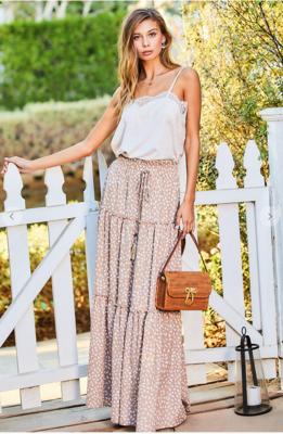 Ruffled Tassel Maxi Skirt
