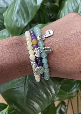 "Seay Simone Biles Collection - ""Power creates confidence. Confidence empowers you."" - Simone Biles - Green Aventurine bracelet"