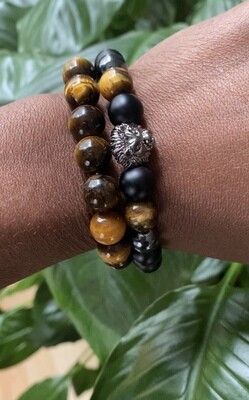 """Seay Larenz Tate Collection - """" Sleep does not help if it's your soul that's tired.""""  - Larenz Tate - Lion, Black Onyx Tiger's Eye Bracelet"""