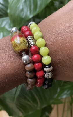 """Seay Janelle Monae Collection - """"Embrace what makes you unique, even if it makes others uncomfortable."""" - Janelle Monae - Green Jade and Black Onyx Bracelet"""