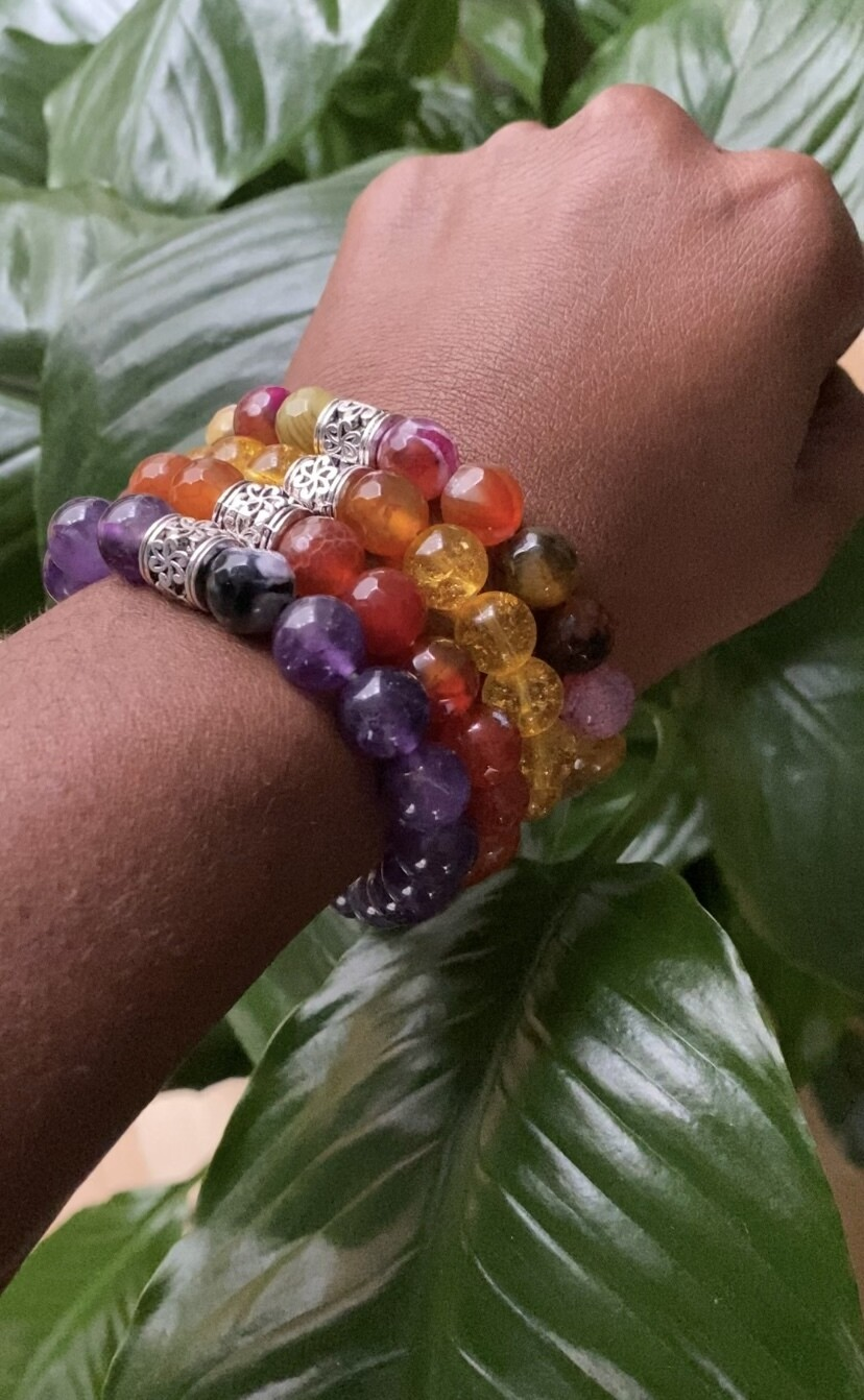 """Seay India Arie Collection - """"Telling the truth is not just what you say, it's how you show up. It's being the truth."""" - India Arie -  Faceted Agate Multicolor bracelet"""