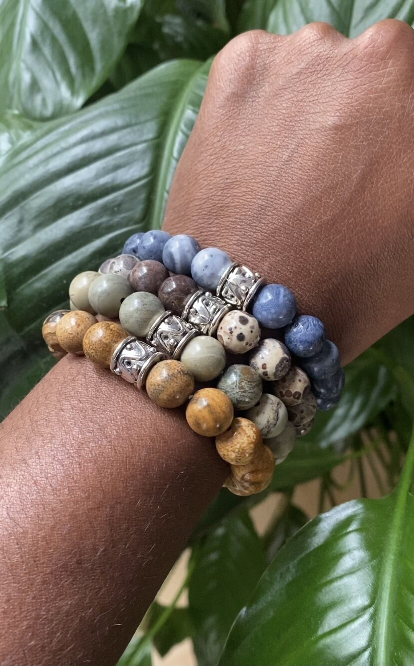 """Seay Elizabeth Acevedo Collection - """"The world is almost peaceful when you stop trying to understand it."""" - Elizabeth Acevedo - Blue Coral Bracelet"""