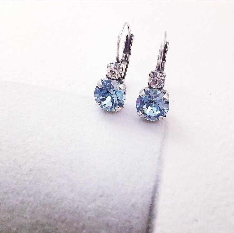 Aquamarine Crystal Earrings, March Birthstone Earrings