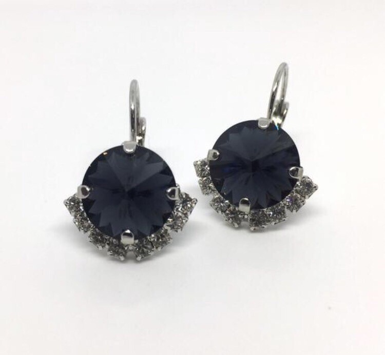 Black Crystal Earrings with small Rhinestone