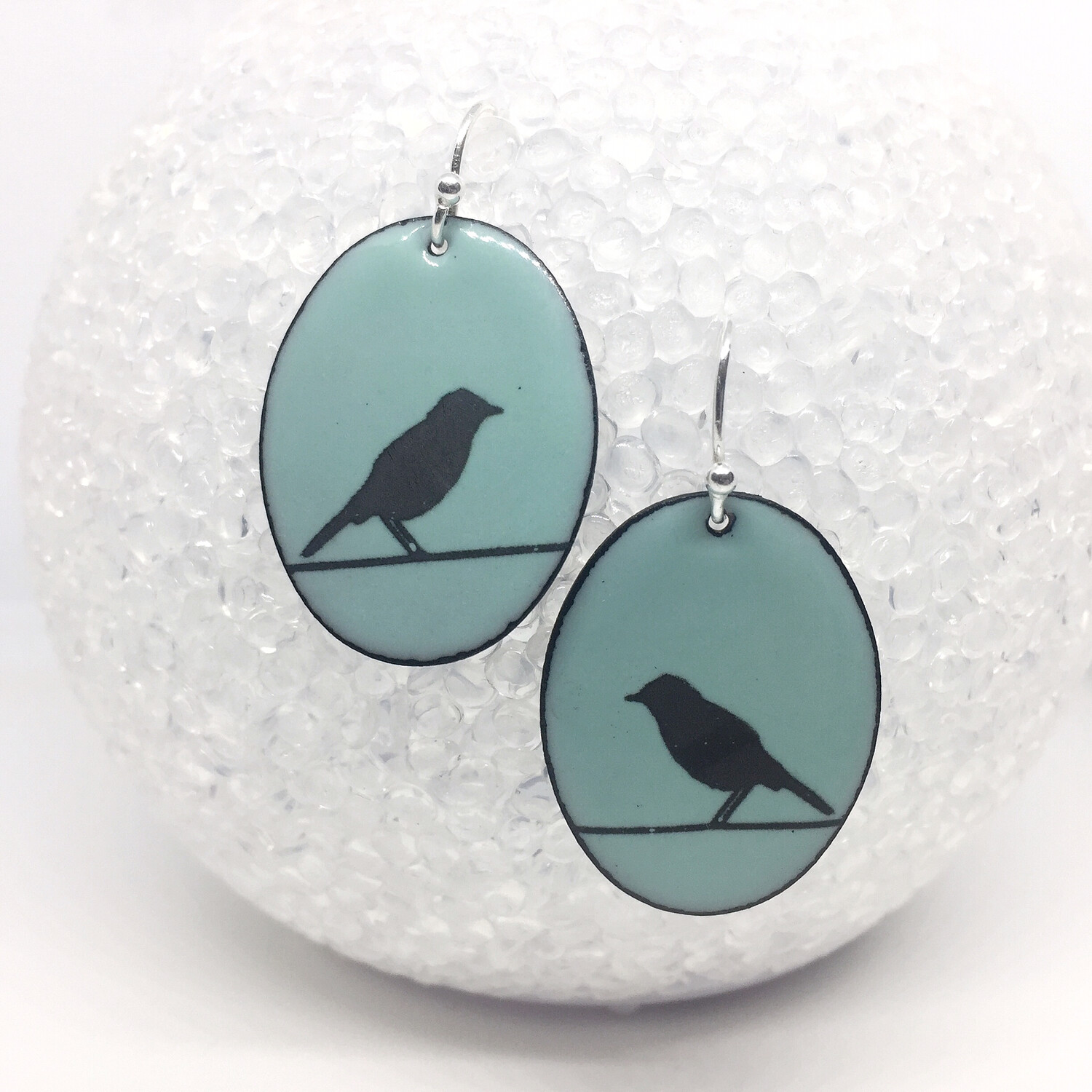 Enamel Earrings, Bird on a wire