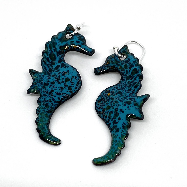 Enamel Earrings,Seahorses