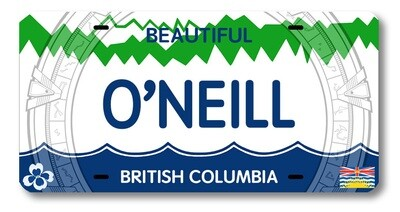 JACK O'NEILL BC LICENSE PLATE