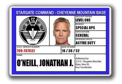 STARGATE SGC I.D. CARD - JACK O'NEILL