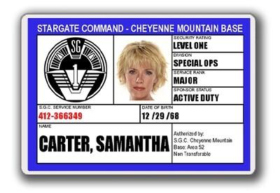 STARGATE SGC I.D. CARD - SAMANTHA CARTER