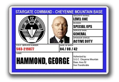 STARGATE SGC I.D. CARD - GEN HAMMOND