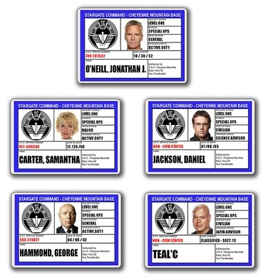 STARGATE SGC I.D. CARD SET (5)
