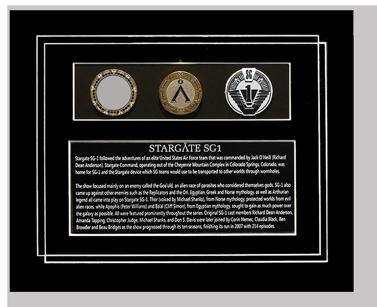 STARGATE SGI PROP & GOLD COIN DISPLAY