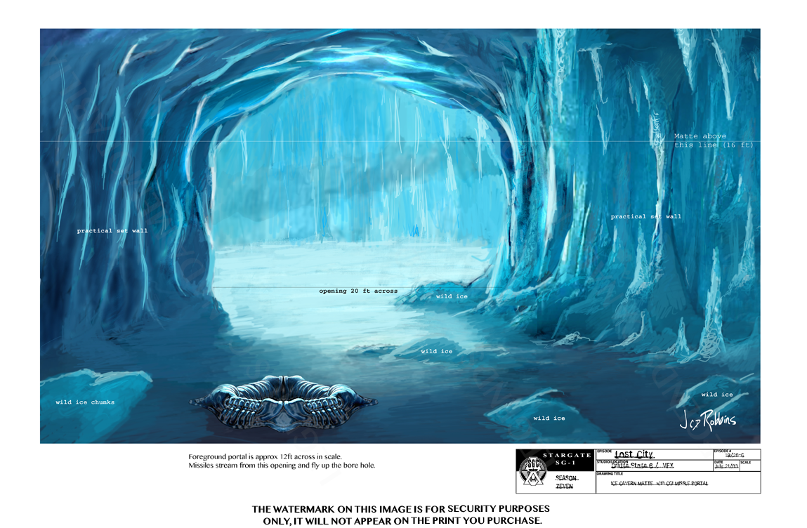 STARGATE CONCEPT ART: ICE CAVERN WITH CGI MISSILE PORTAL