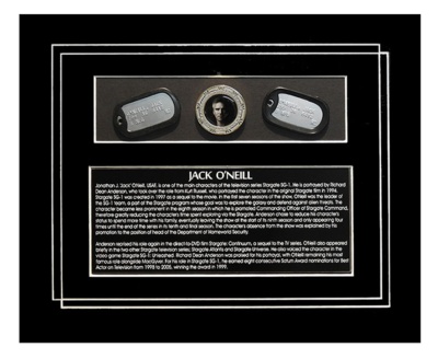 STARGATE 'JACK O'NEILL' DOGTAG & GOLD COIN DISPLAY