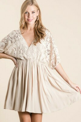 Lace Top Woven Dress