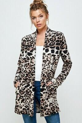 Animal Print Long Sleeve Open Cardigan