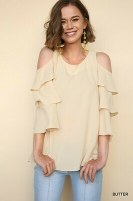 Cold Shoulder Tiered Ruffle Sleeve Top