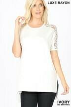 Zenana Lace Sleeve Top