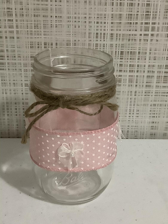 Mason jar pint pink w/ribbon