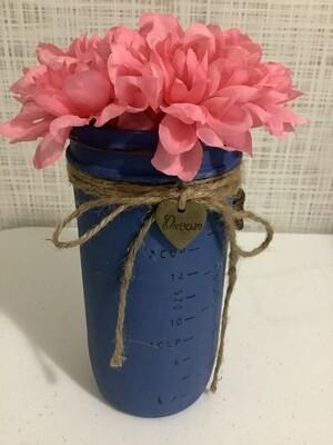 Mason jar quart blue W / Flower Charm