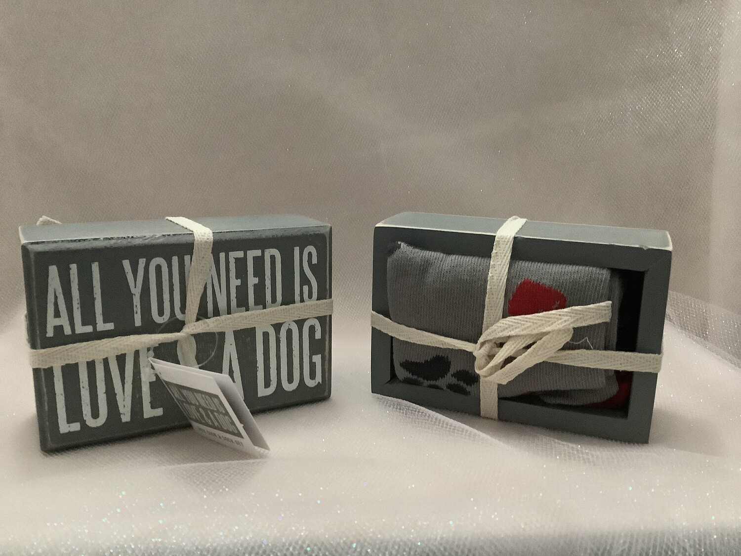 Box Sign and Sock Set - All You Need Is Love and a Dog