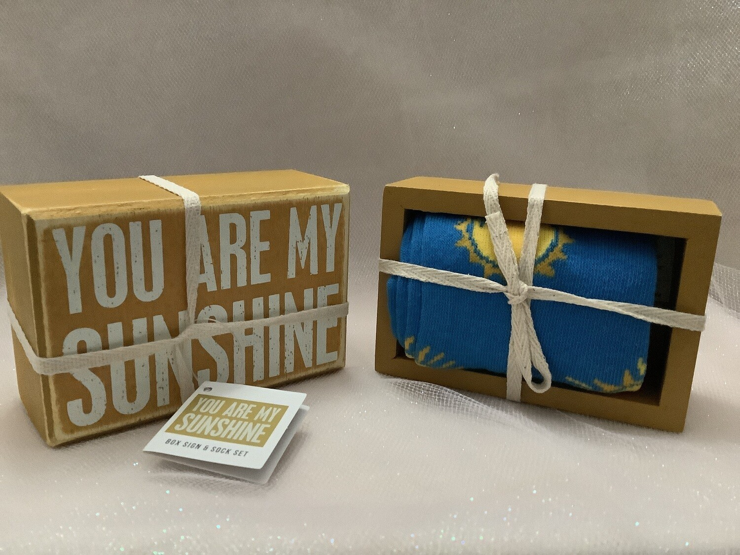 Box Sign and Sock Set - You Are My Sunshine