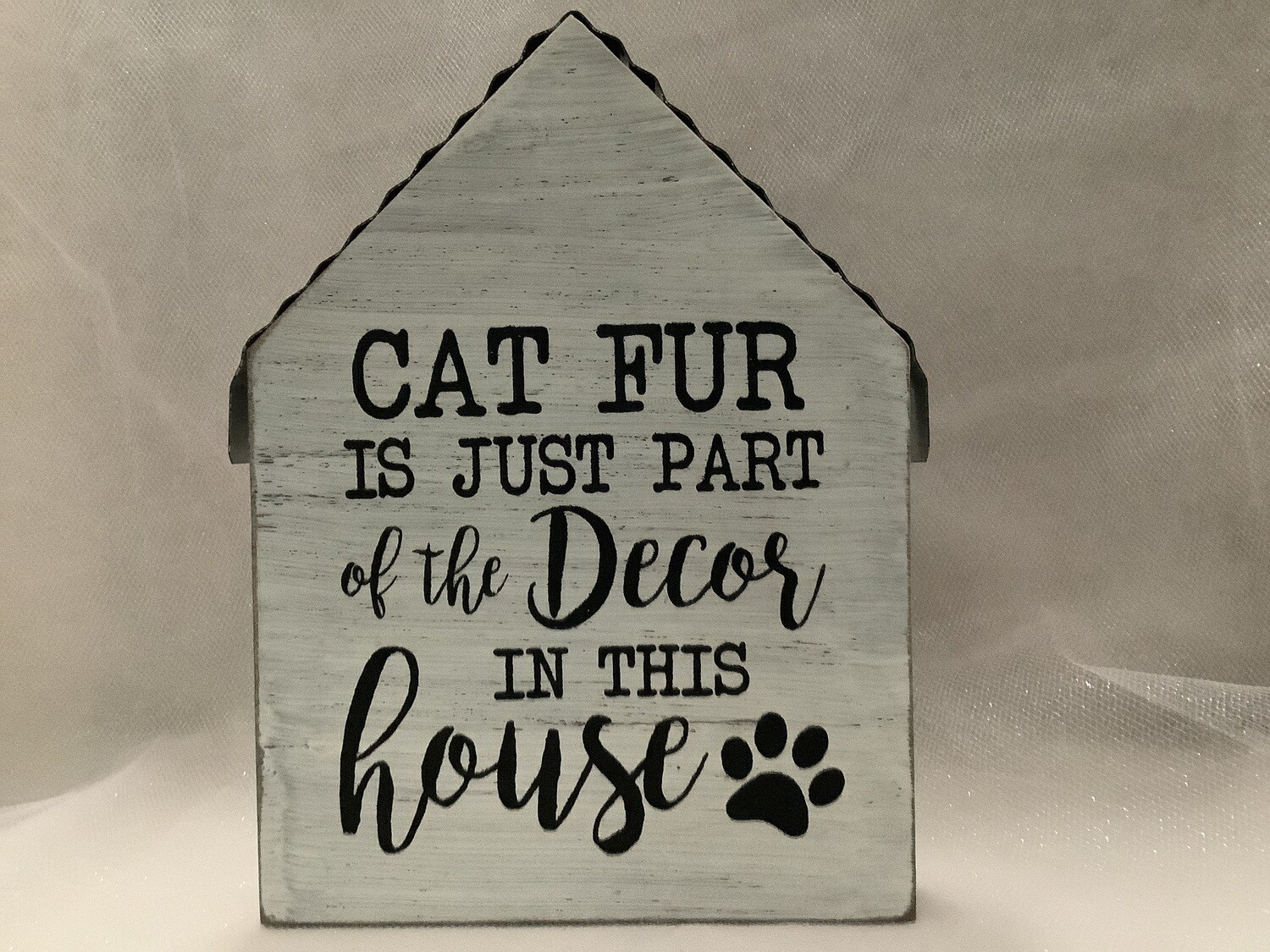 Wood and Tin House Sign - Cat