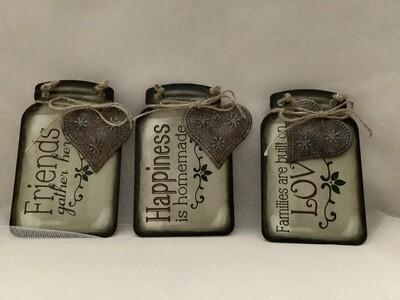 Tin Mason Jar Signs with Charms