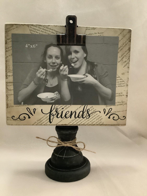Clip Picture Frame on Wooden Pedestal