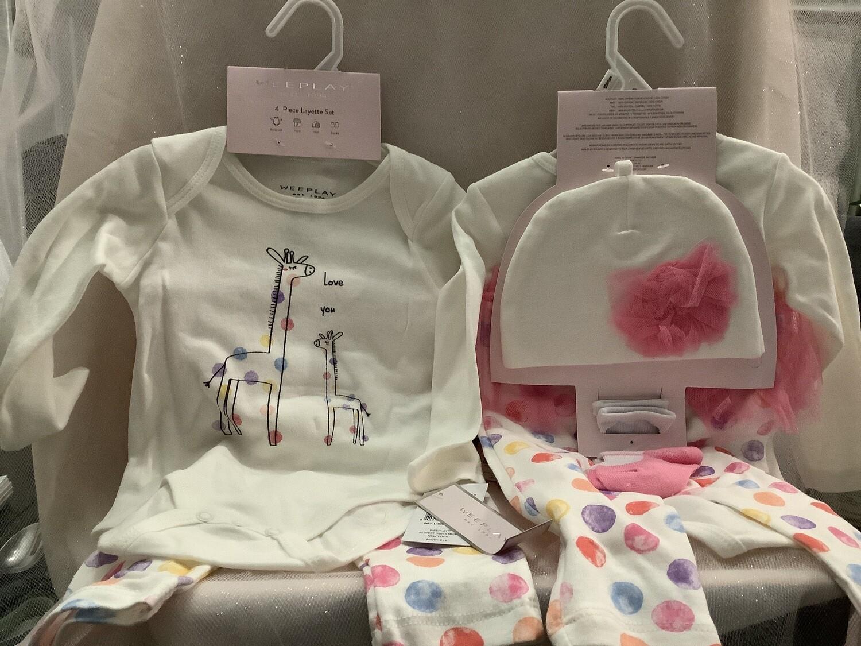 Baby Girl Clothing Set with Tutu Skirt - Giraffe 0/3M
