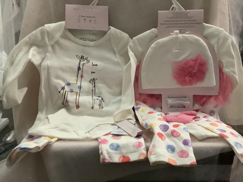 Baby Girl Clothing Set with Tutu Skirt - Giraffe 3/6M