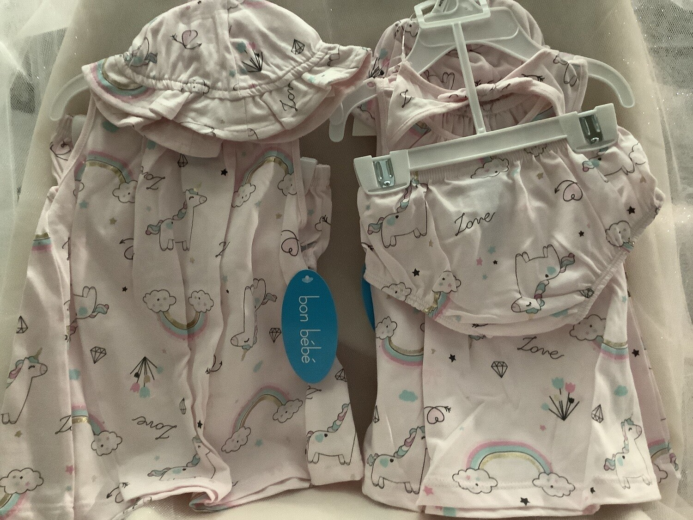 3-Piece Baby Dress Set with Sunhat 3/6M