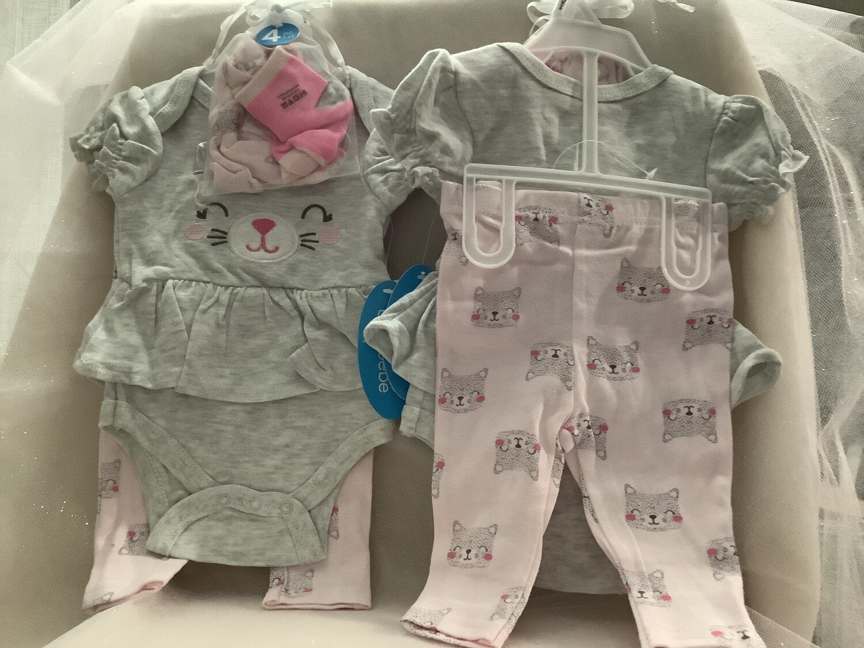 Baby Set with Applique - Cat 6/9M