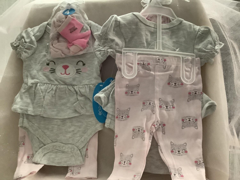Baby Set with Applique - Cat 3/6M