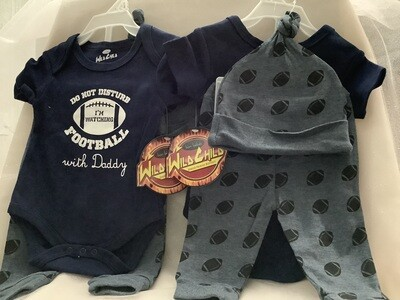 Baby Clothing Set - Do Not Disturb - I'm Watching Football with Daddy 3/6M