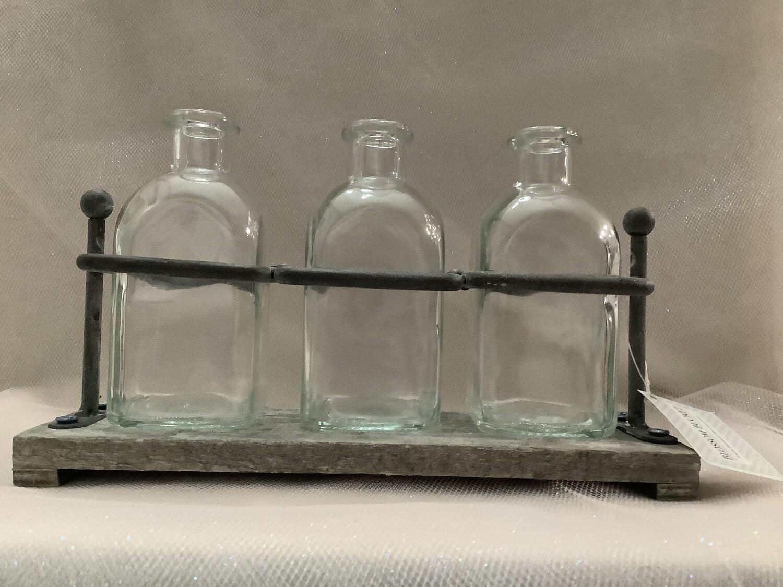 Iron Bottle Holder with 3 Bottles