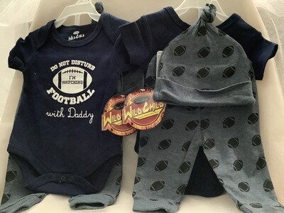 Baby Clothing Set - Do Not Disturb - I'm Watching Football with Daddy 6/9M