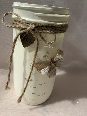 QUART JAR WHITE WITH BUTTERFLY AND CHARM