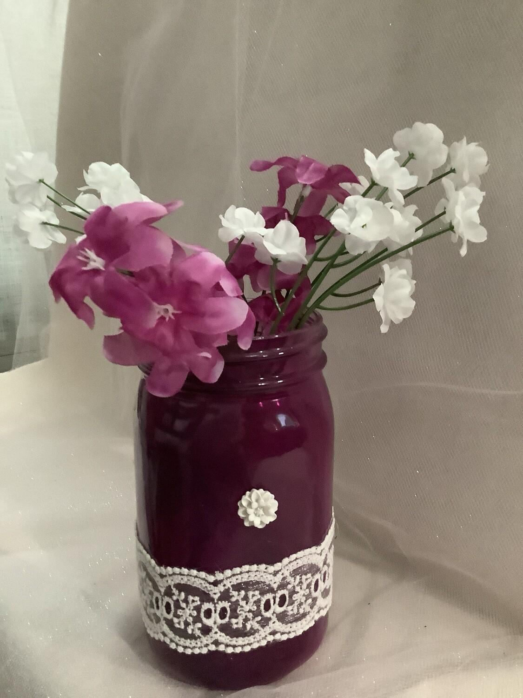 PURPLE QUART MASON JAR WITH FLOWERS
