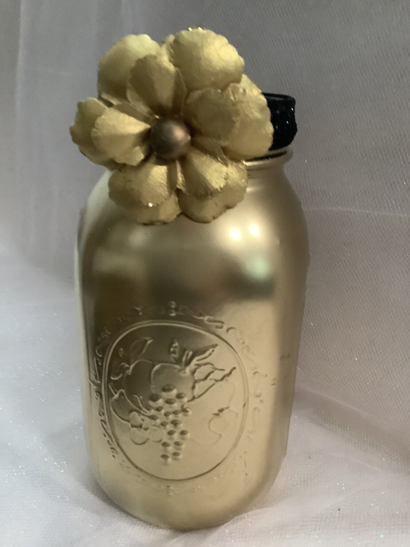 GOLD QUART MASON JAR WITH FLOWER