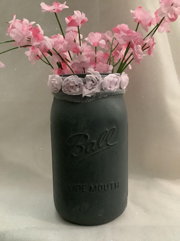 QUART MASON JAR GREY WITH FLOWERS