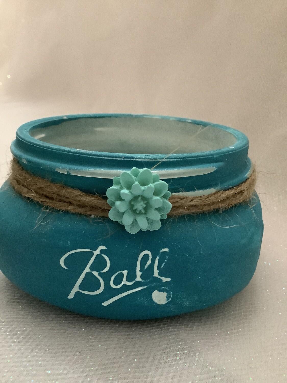 HALF PINT MASON JAR TEAL WITH FLOWER