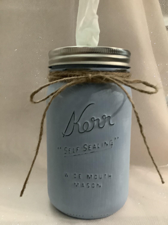 MASON JAR BLUE TISSUE HOLDER