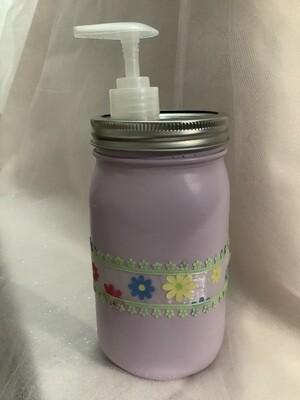 QUART JAR PURPLE WITH SOAP DISPENSER AND LACE