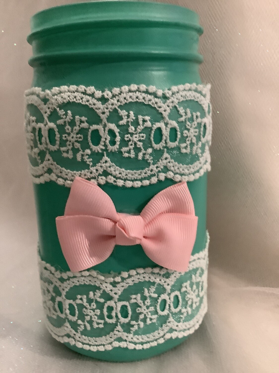QUART MASON JAR GREEN WITH LACE AND BOW